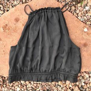 Silky black peasant crop top